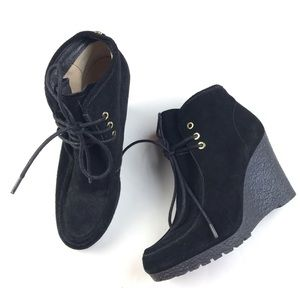 Michael Kors Black Suede Lace Up Wedge Booties 8